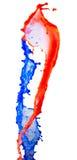 Röd och blå målarfärgfärgstänk Arkivfoton