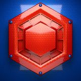 Röd och blå metallbakgrund Arkivbild