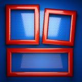 Röd och blå metallbakgrund 3d isolerade den framförda videopd vita världen Royaltyfria Bilder