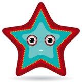 Röd och blå sjöstjärna på en vit bakgrund Fotografering för Bildbyråer