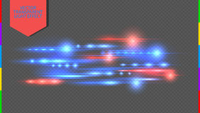 Röd och blå specialeffekt för vektor Glödande strimmor på genomskinlig bakgrund royaltyfri illustrationer