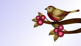 Röd och brun fågel och blommor Royaltyfria Bilder