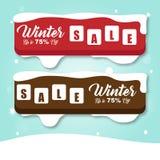 Röd och brun vektorbild för vinterSALE baner Royaltyfri Foto