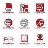 Röd och grå för modern fastställd design logovektor för möblemang och för dekor royaltyfri illustrationer