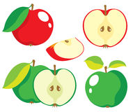 Röd och grön äpplevektorsamling Royaltyfri Bild