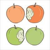 Röd och grön Apple hand dragen stil vektor illustrationer