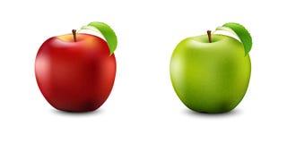 Röd och grön Apple uppsättning Realistiskt med bladet Detaljerad 3d Illust royaltyfri illustrationer