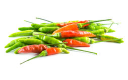 Röd och grön chili på vitbakgrund Royaltyfria Foton