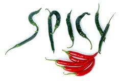 Röd och grön chilipeppar Royaltyfria Bilder