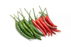Röd och grön chilipeppar Royaltyfri Bild