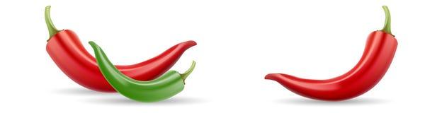 Röd och grön för varm chili för peppar för vektor symbol för mexicansk jalapeno på vit bakgrund Upps?ttning f?r peppar f?r varm c vektor illustrationer