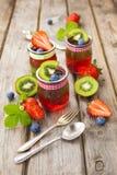 Röd och grön gelé som tjänas som med frukt Arkivfoton