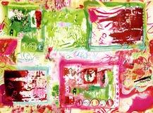 Röd och grön geometrisk abstrakt modell för textiler vektor illustrationer