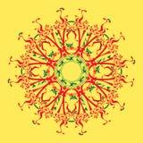 Röd och grön mandala Fotografering för Bildbyråer