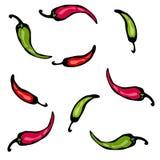 Röd och grön peppar för den varma chili skissar också vektor för coreldrawillustration royaltyfri illustrationer