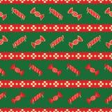 Röd och grön randig modell av julgodisar stock illustrationer