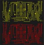 Röd och gul datorströmkrets på en svart bakgrund Royaltyfri Fotografi