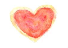 Röd och gul färghjärta på vit, vattenfärgmålning Arkivfoto