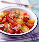 Röd och gul sallad för körsbärsröda tomater Royaltyfria Bilder