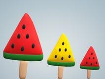 Röd och gul vattenmelonskiva varje format på pinnen som är klar att äta royaltyfri illustrationer