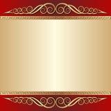 Röd och guld- bakgrund Arkivfoto