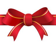 Röd och guld- gåvapilbåge och band royaltyfri illustrationer