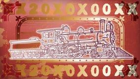 Röd och guld- lokomotiv Royaltyfri Fotografi