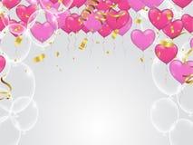 Röd och rosa hjärta sväller, vektorillustrationen Konfettier och r stock illustrationer