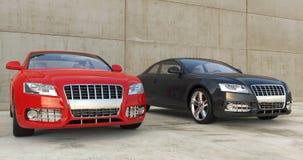 Röd och svart bil utanför Royaltyfria Bilder