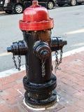 Röd och svart Boston brandpost Royaltyfria Bilder