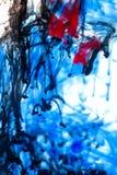 Röd och svart färgpulver för blått, i vatten Fotografering för Bildbyråer