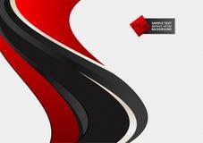 Röd och svart illustration för vektor för bakgrund för färgvågabstrakt begrepp vektor illustrationer