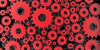 Röd och svart mekanisk 3D tillverkning, metallkugghjul förser med kuggar kuggar svärtar bakgrund Arkivfoton