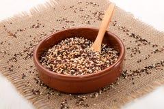 Röd och svart quinoaen den vit, i bruna lergods bowlar arkivfoto