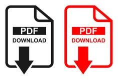 Röd och svart symbol för nedladdning för färgPdf-mapp vektor illustrationer