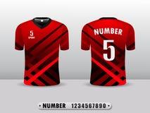 R?d och tillbaka mall f?r design f?r fotbollklubbat-skjorta sport Inspirerat av abstrakta begreppet Framdel- och baksidasikt stock illustrationer