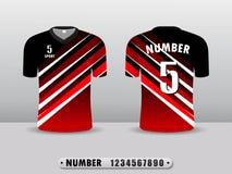 R?d och tillbaka mall f?r design f?r fotbollklubbat-skjorta sport Inspirerat av abstrakta begreppet Framdel- och baksidasikt vektor illustrationer