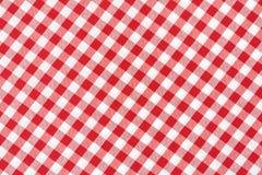 Röd och vit bordduk Fotografering för Bildbyråer