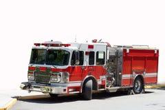 Röd och vit brandlastbil Fotografering för Bildbyråer