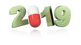Röd och vit design för preventivpiller 2019 i oändlig rotation stock video