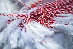 Röd och vit flätad tråd Royaltyfria Bilder