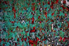 Röd och vit fred av torkdukar royaltyfria foton
