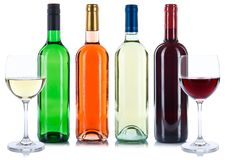 Röd och vit isolat för samling för viner för dryck för rosvinflaskor royaltyfria bilder