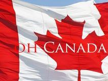 Röd och vit Kanada flagga med den symboliska lönnlövet Royaltyfri Fotografi