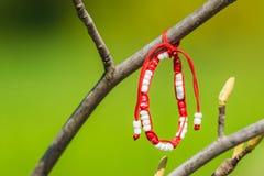 Röd och vit Martisor garnering som hänger på ett träd Royaltyfri Bild