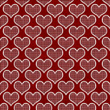 Röd och vit polka Dot Hearts Pattern Repeat Background Arkivfoton