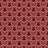 Röd och vit polka Dot Hearts Pattern Repeat Background Arkivfoton