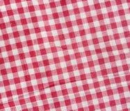 Röd och vit rutig textur Arkivfoton