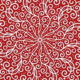 Röd och vit symmetrisk designbakgrund med krullning och virvlar stock illustrationer