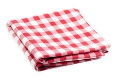 Röd och vit tablecloth Fotografering för Bildbyråer